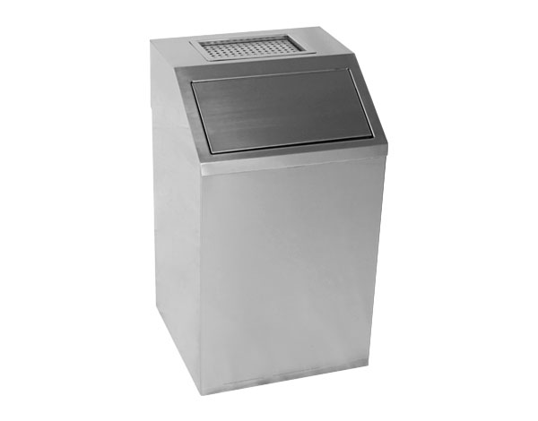 Crystal UMHU0303   Waste Container with Ashtray / Stainless Steel 37x37x65 cm