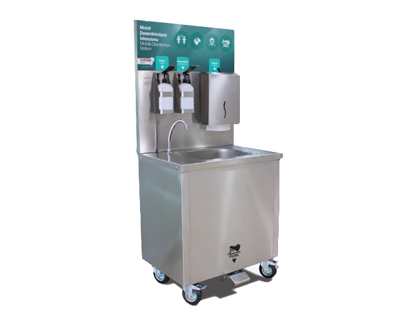 Empero EMPDKE75   Mobile Disinfectant Station / Stainless Steel 75x60.5x87.5/159 cm