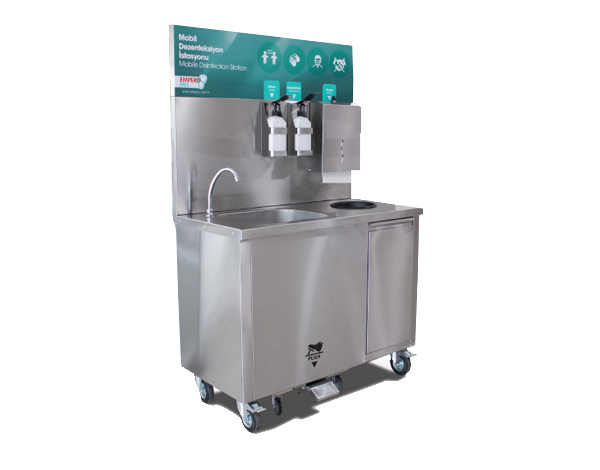 Empero EMPDKE102   Mobile Disinfectant Station / Stainless Steel 102x60.5x87.5/159 cm