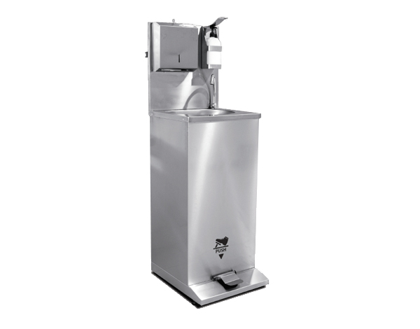 Empero EMPDKE50T   Mobile Hand Washing Sink (Foot Operated) / Stainless Steel 50x65.5x90/140 cm