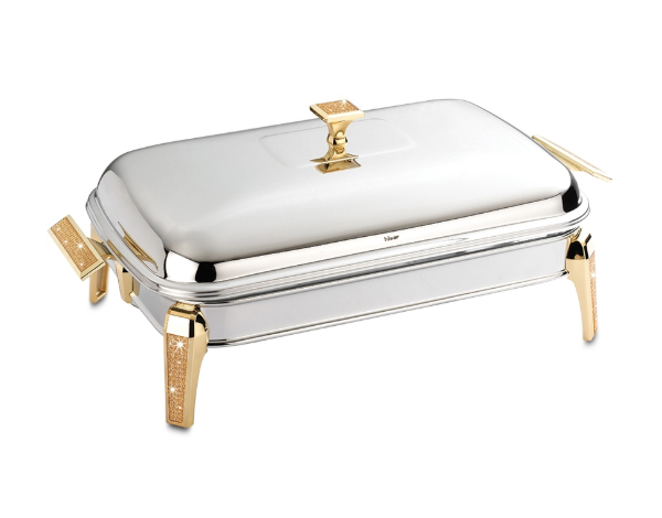Hisar Mercury   Gold Glitter Rectangle Serving Dish with Candle Warmer / Stainless Steel