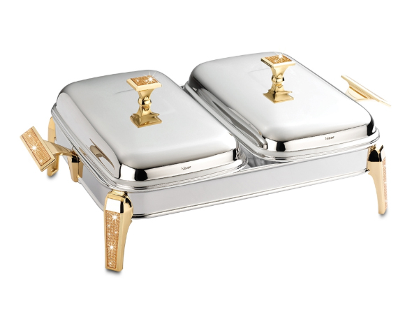 Hisar Mercury   Gold Glitter Rectangle Double Serving Dish with Candle Warmer / Stainless Steel
