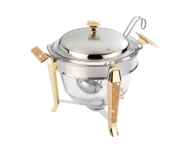 Hisar Mercury   Gold Glitter Soup Serving Set with Ladle / Stainless Steel