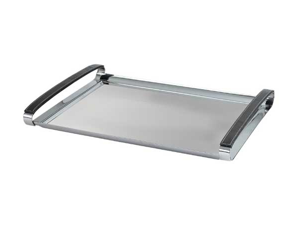 Hisar Bahama   Serving Tray with Leather Handle / Stainless Steel 40x30 cm