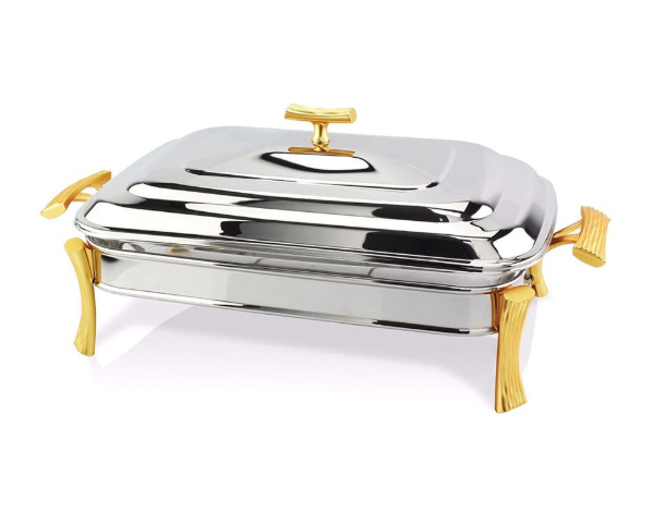 Hisar Milan Gold   Rectangle Table Serving Set / Stainless Steel