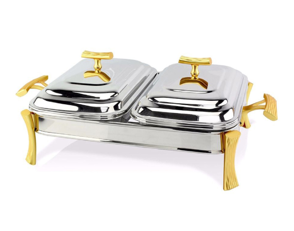 Hisar Milan Gold   Rectangle Double Plate Table Serving Set / Stainless Steel