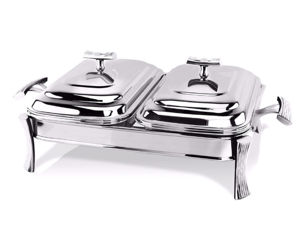 Hisar Milan   Rectangle Double Plate Table Serving Set / Stainless Steel