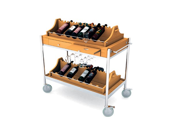 Evinoks SLST 102   Wine Display Trolley / Wood 110x55x85/105 cm